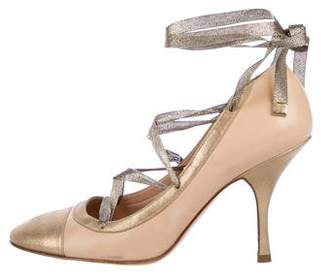 Chanel Metallic Cap-Toe Leather Pumps