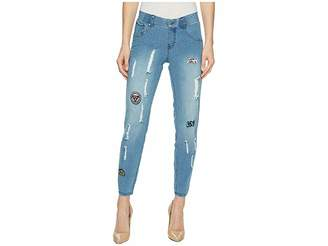 Hue Patched Distressed Denim Skimmer Women's Casual Pants