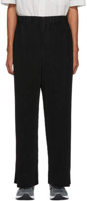 Issey Miyake Homme Plisse Black Pleated Wide-Leg Trousers