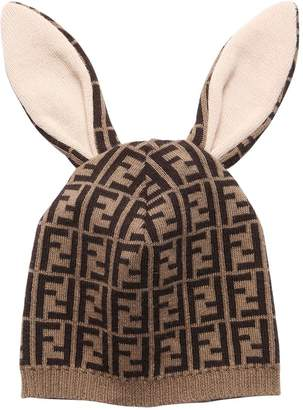 Fendi Cotton & Cashmere Blend Bunny Hat