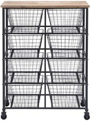 Benzara Metal Wood Storage Kitchen Cart