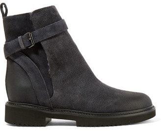 Vince - Claudia Shearling-lined Suede Ankle Boots - Dark gray $395 thestylecure.com