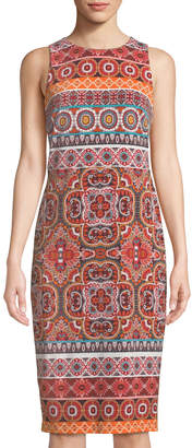 Maggy London Halter-Neck Patchwork Midi Dress