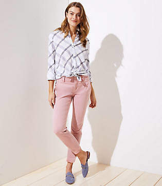 LOFT Petite Frayed Girlfriend Chinos