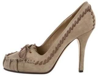 Dolce & Gabbana Suede Round-Toe Pumps