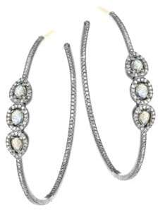 Nina Gilin Labradorite& Diamond Hoop Earrings