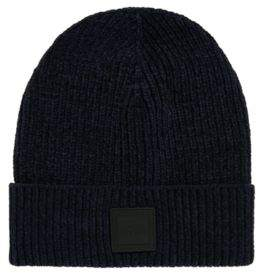 29fd1f819fa at HUGO BOSS · BOSS Cotton-chenille beanie hat with square silicone badge
