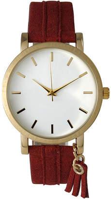 OLIVIA PRATT Olivia Pratt Tassle Charm Womens Red Strap Watch-15984