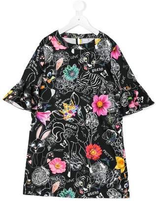 Philipp Plein Junior ruffled sleeve printed dress