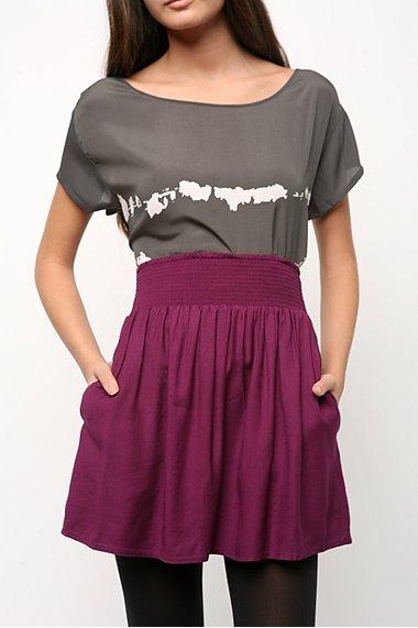 BDG Solid Smocked Waistband Skirt