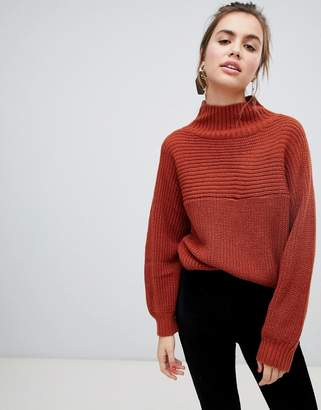 Monki high neck ribbed oversized sweater in rust