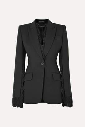 Alexander McQueen Lace-trimmed Wool-blend Crepe Blazer - Black
