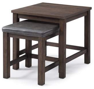 Emerald Home Wood Haven Dark Brown Nesting Tables with One Wood Top And One Faux Leather Upholstered Top