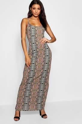 boohoo Multi Print Strappy Maxi Dress