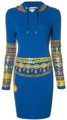 Moschino bejewelled print hoodie dress