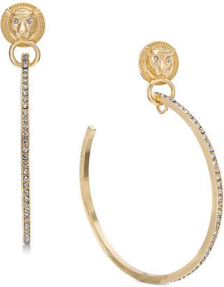 "Thalia Sodi Extra Large Gold-Tone Lion Crystal Hoop Earrings 4"""