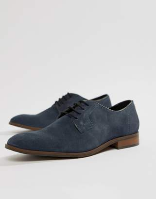 Dune Lace Up Suede Shoes In Navy Suede