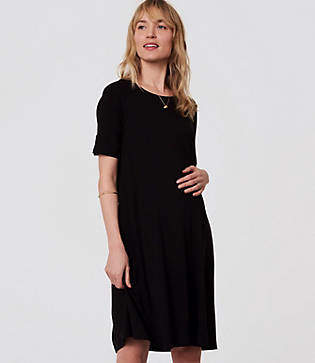 LOFT Petite Maternity Short Sleeve Swing Dress