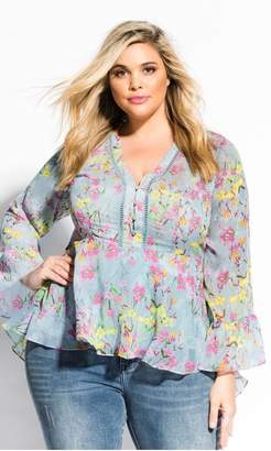 City Chic Citychic French Fields Top - mint