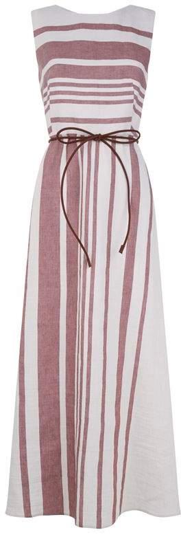 Striped Poplin Maxi Dress