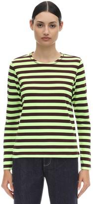 Ganni ジャージー ボーダーロングTシャツ