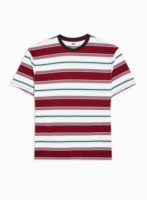 Topman Mens Red Burgundy And White 90'S Stripe T-Shirt