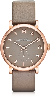 Marc by Marc Jacobs Baker 36 MM Gray Leather Strap and Rose Gold Stainless Steel Women's Watch $195 thestylecure.com