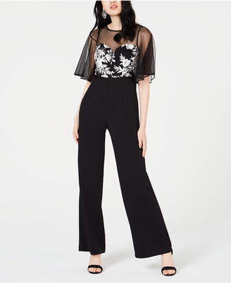 Adrianna Papell Embroidered Illusion-Mesh Jumpsuit