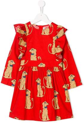 Mini Rodini spaniels print ruffled dress