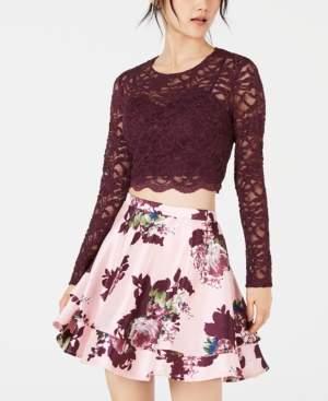 City Studios Juniors' Lace Top & Printed Skirt 2-Pc. Dress