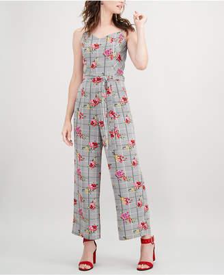Monteau Petite Floral-Print Belted Jumpsuit