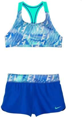 Nike Girls 7-14 Racerback Bikini Top & Shorts Swimsuit Set