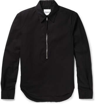 TAKAHIROMIYASHITA TheSoloist. Distressed Cotton-Broadcloth Half-Zip Shirt