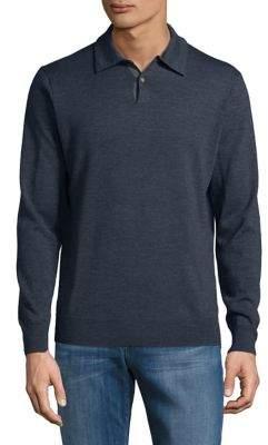 Black & Brown Black Brown Long-Sleeve Merino Wool Polo