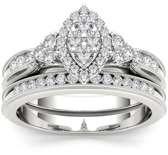Imperial Diamond Imperial 1/2 Carat T.W. Diamond Marquise Framed Cluster 10kt White Gold Engagement Ring Set