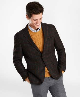 Brooks Brothers Two-Button Brown Windowpane Wool Twill Sport Coat