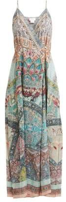 Camilla Sisters Of Marigold Silk Wrap Dress - Womens - Green Multi