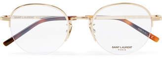 Saint Laurent Round-Frame Gold-Tone Optical Glasses