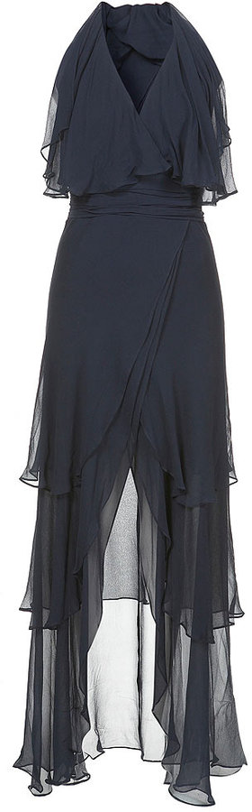 Ruffle Cape Maxi Dress**