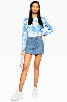 Topshop Womens Petite Denim Mini Skirt - Mid Stone