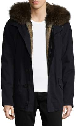 Yves Salomon Men's Rabbit and Fox Fur-Trimmed Two-Way Zip Coat