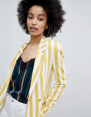 Bershka bold blazer in multi stripe