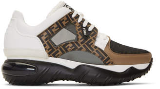 Fendi White and Brown Forever Chunky Sneakers