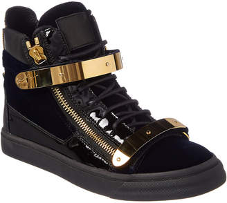 Giuseppe Zanotti Velvet & Leather High-Top Sneaker