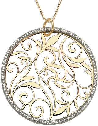JCPenney FINE JEWELRY 14K Gold-Over-Silver Diamond-Accent Circle Pendant Necklace