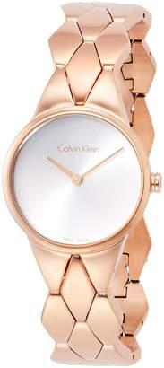 Calvin Klein Women's Gold-Tone Steel Bracelet & Case Swiss Quartz Silver-Tone Dial Analog Watch K6E23646