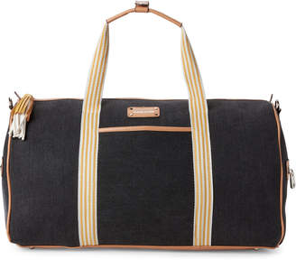 Adrienne Vittadini Black Canvas Stripe Duffel