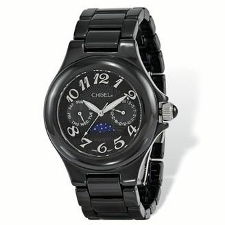 Primal Steel Ladies Chisel Black Ceramic Black Dial Watch