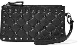Valentino Garavani The Rockstud Quilted Cracked-leather Pouch - Black