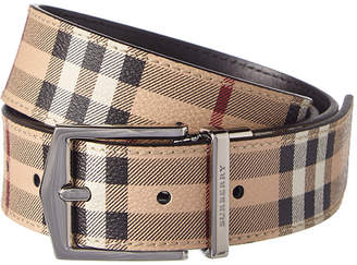 Burberry Reversible Haymarket Check & Leather Belt